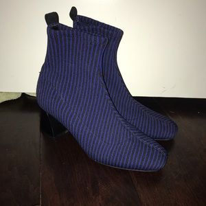Blue and black striped Zara booties